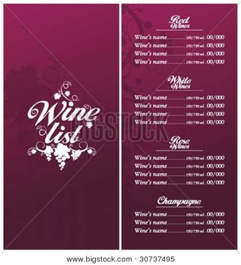 wine list template wine list menu card design vector photo bigstock