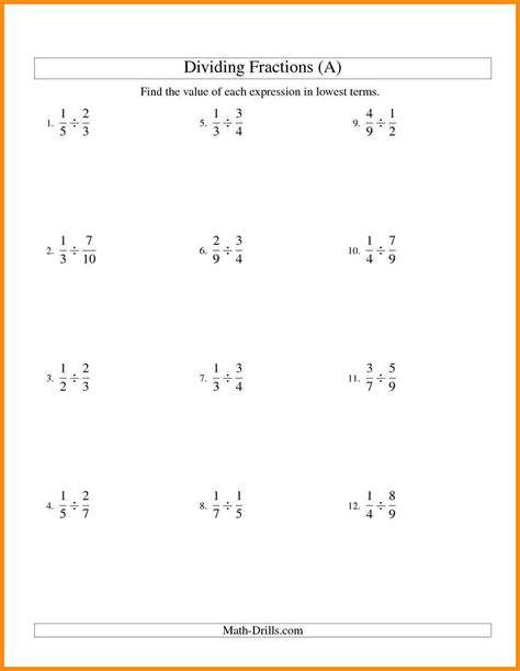 Unit Fractions Worksheet by Dividing Fractions Worksheets 6th Grade Wiildcreative