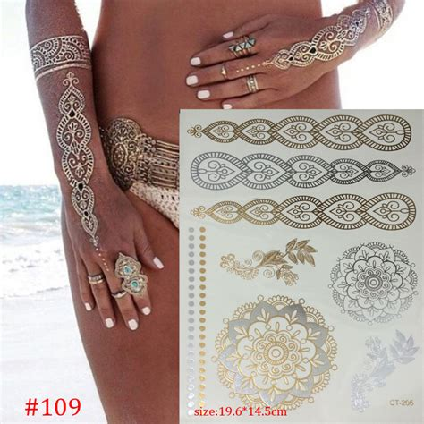 gold henna temporary tattoo temporary gold products necklace
