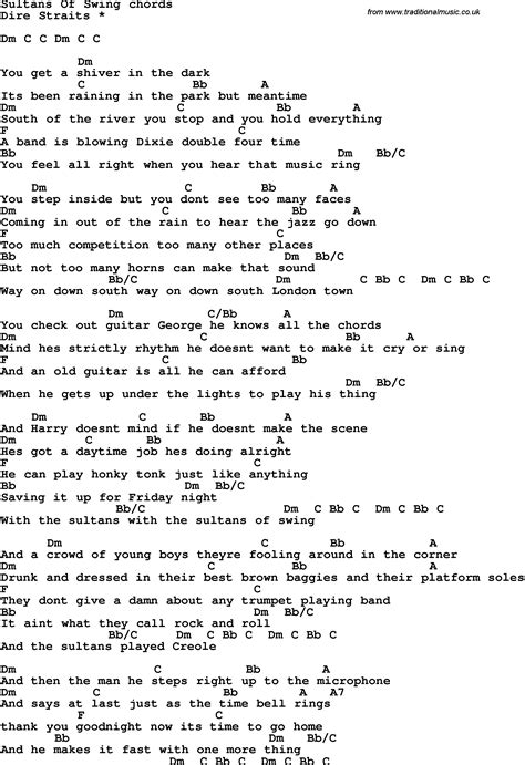 sultans of swing lyric song lyrics with guitar chords for sultans of swing dire