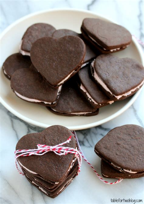 Heart Shaped Chocolate Sandwich Cookies   Table for Two®