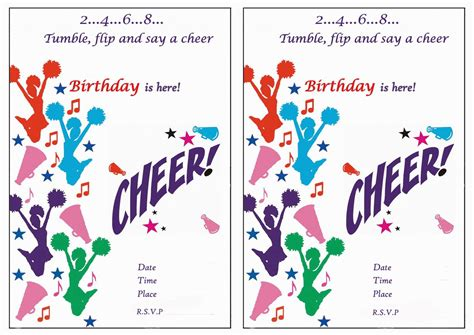 Cheerleading Birthday Invitations Birthday Printable Cheer Template