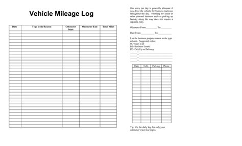 travel mileage log template vehicle mileage templates print paper templates