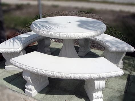 round table and bench white outdoor benches round concrete table and benches