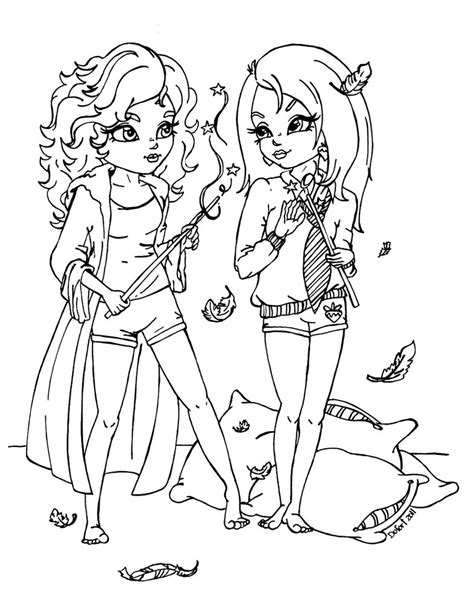 two dogs coloring page hermione n luna by jadedragonne on deviantart