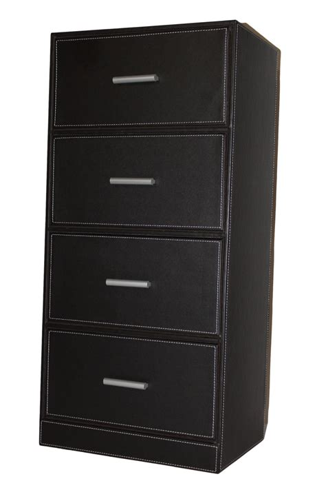 Commode Simili Cuir by Commode 4 Tiroirs Mdf Simili Cuir Marron Fonc