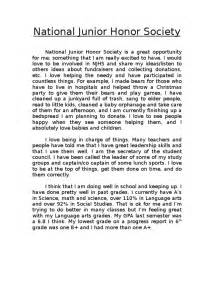 National Honors Society Essay by National Junior Honor Society Application Essay