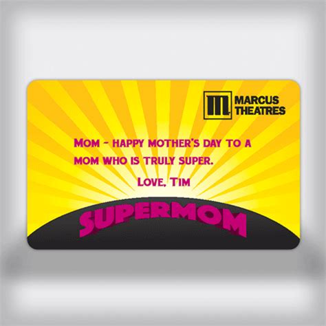 Marcus Theatre Gift Card Promotion - marcus theatres custom movie gift card super mom edition
