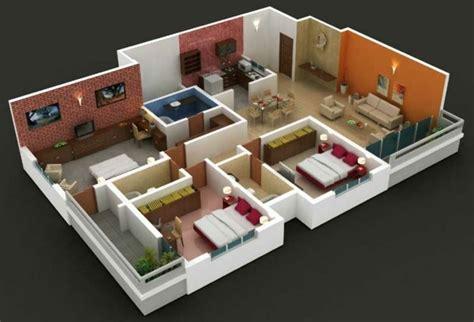 1 Bedroom Small House Floor Plans by Planos De Casas Y Apartamentos En 3 Dimensiones