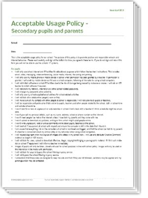 Safeguarding Essentials School Resources Policy Documents Free And Premium Resources Student Acceptable Use Policy Template