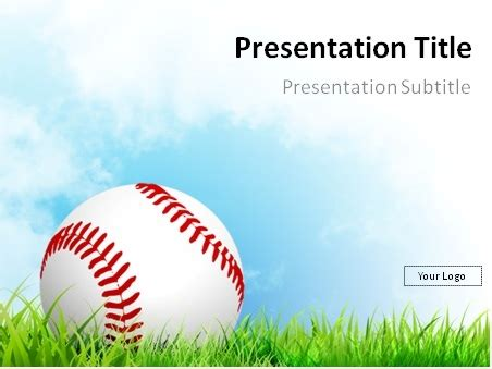 free baseball powerpoint template baseball on grass with blue sky powerpoint template