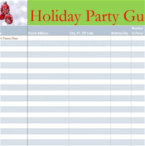 Holiday Party Guest List   My Excel Templates
