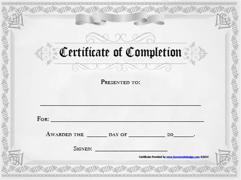 blank certificate of completion templates free completion certificate templates 40 free word pdf psd