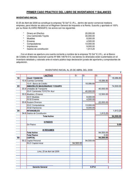 finalidad del libro inventario y de balance casos practicos de inventario inicial y balance de inventario