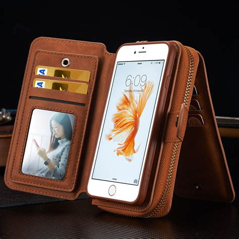 removable leather wallet card slots zipper cover for apple iphone 6s 7 plus ebay