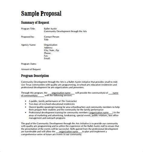 sle art proposal template 8 free documents in pdf word