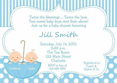 twin baby boys shower invitation twins shower blue polka