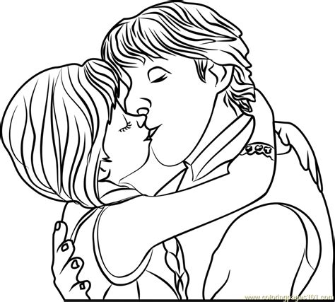 frozen coloring pages anna and kristoff family kristoff and anna kiss coloring page free frozen