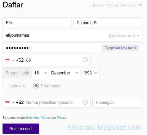 Yahoo Membuat Akun Baru | cara daftar akun email yahoo mail baru emiscara com