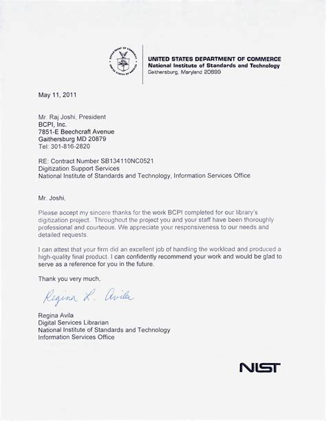 Customer Testimonial Letter Bcpi Nist United States Department Of Commerce Testimonial Letter To Bcpi