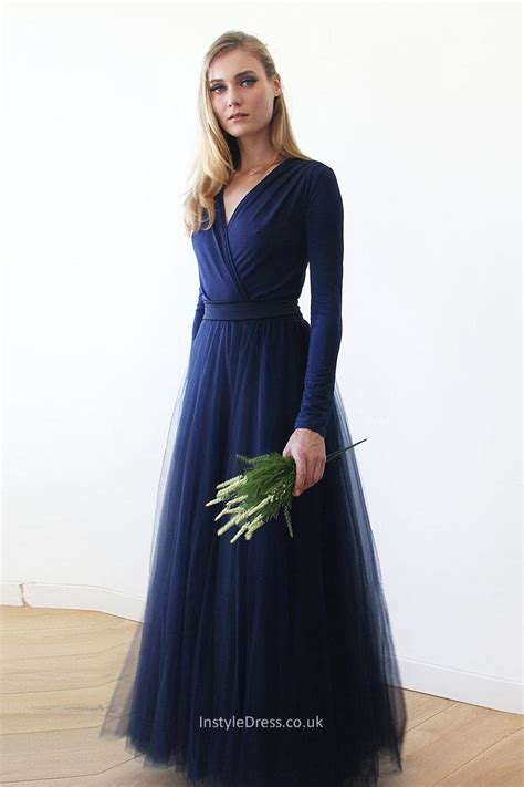 Sleeve A Line Evening Dress modest v neck simple a line navy blue prom evening