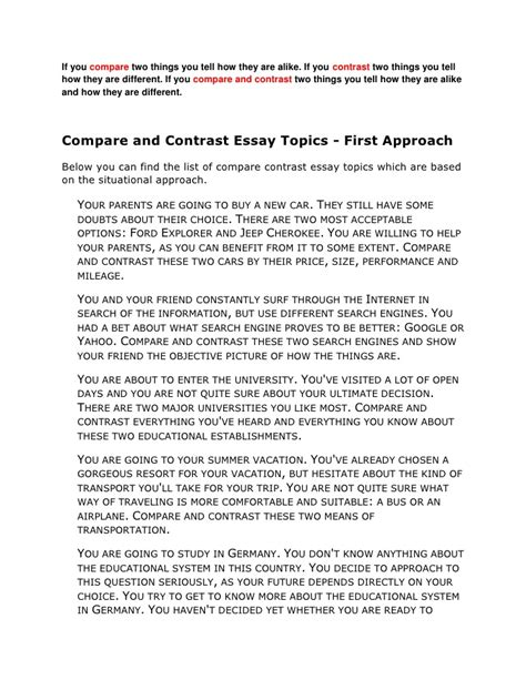 Topics For A Comparison Essay by Compare Contrast Essay Ideas