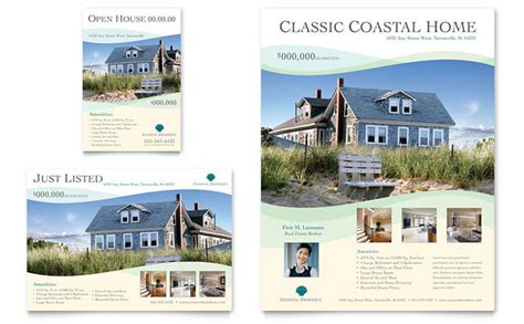 real estate brochures templates coastal real estate flyer ad template design