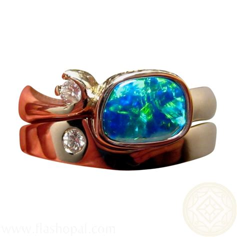 opal engagement wedding ring with diamonds flashopal