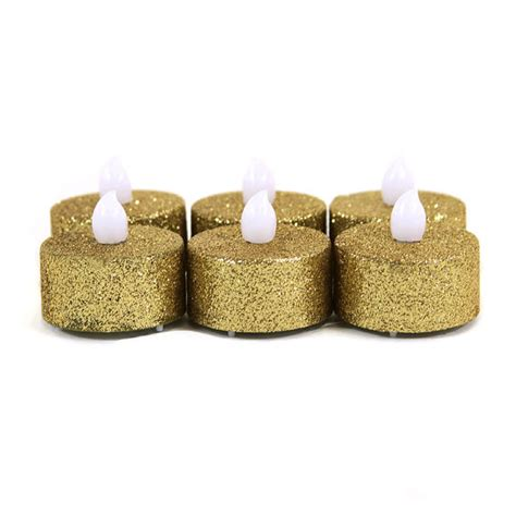 led gold glitter flameless candle 10 in candles home gold glitter flameless tealight candles by