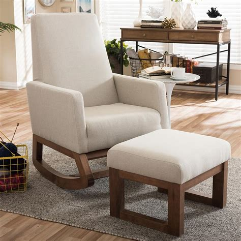 fabric chair and ottoman sets baxton studio yashiya mid century beige fabric upholstered