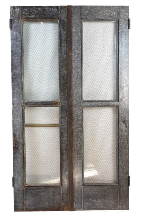 Vintage Industrial Double Door Set With Chicken Wire Glass Industrial Glass Door