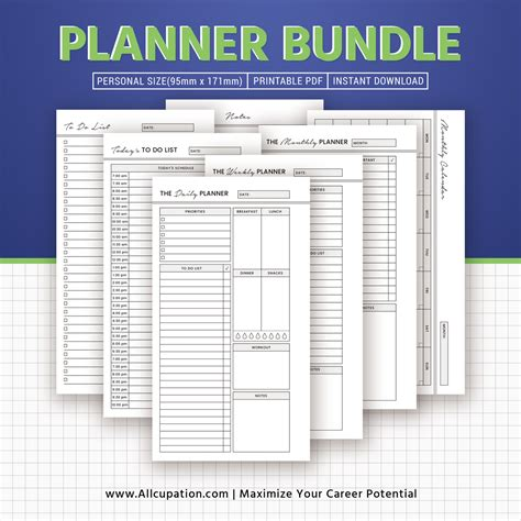 printable planner bundle planner bundle printable personal size inserts daily