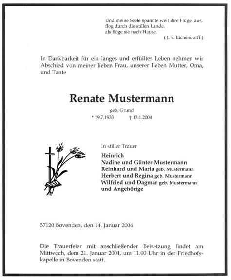 Trauerbrief Schreiben Muster Rossbach Druckerei Werbegrafik Gbr Beispiele