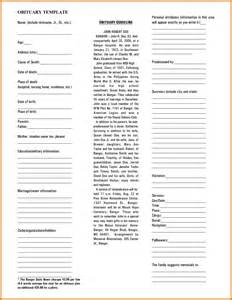 Fill In Obituary Template by Fill In The Blank Obituary 187 Ideas Home Design