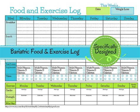 wellness chart and five day log bariatric surgery weekly food exercise tracker weigh loss