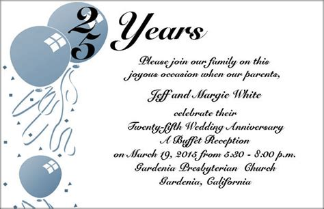 25th wedding anniversary invitation cards templates wedding invitation wording 25th wedding anniversary