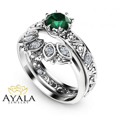1 2 ct emerald engagement ring set 14k white gold