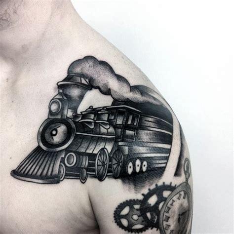 tattoo cartoon black cartoon like black ink old train tattoo on shoulder
