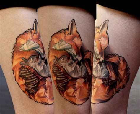 new school tribal tattoos new school style colored thigh of fox with rabbit