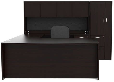 U Shaped Office Desk With Hutch New Bowfront U Shape Executive Office Desk With Hutch And Wardrobe Storage Ebay