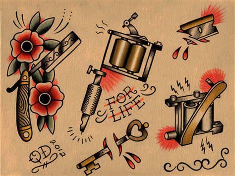 tattoo machine flash razor and tattoo machine flash sheet by parlortattooprints