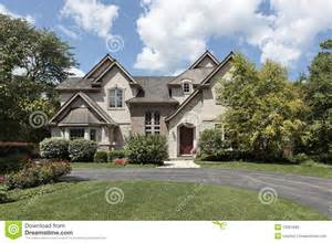 House Plans Detached Garage luxury brick and stone home stock image image 13351695