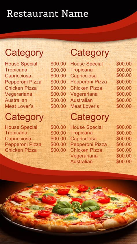 pizza menu templates pizza menu backgrounds www imgkid the image kid