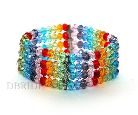 Rainbow Beaded Bracelet   Multi Strand Bracelet   Colorful Bracelet on Luulla