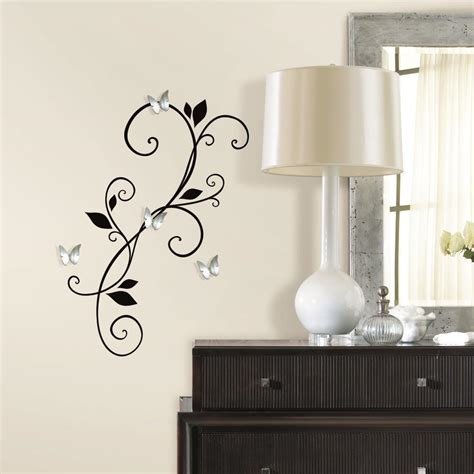 mirror stickers for wall scroll sconce decal with bendable buttefly mirrors