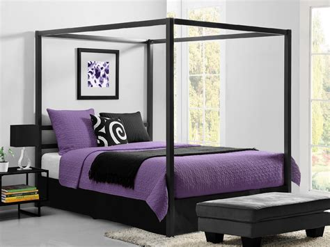 Black Metal Canopy Bed Dorel Home Furnishings Modern Black Canopy Metal Bed Home Furniture Bedroom