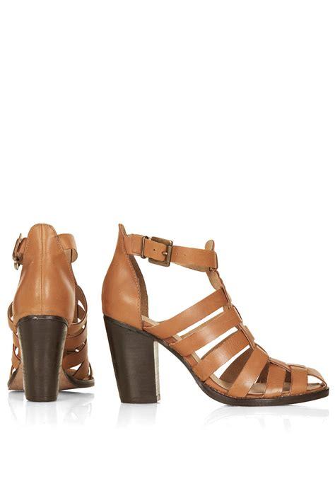 topshop gladiator sandals topshop gerrie block heel gladiator sandals in brown lyst
