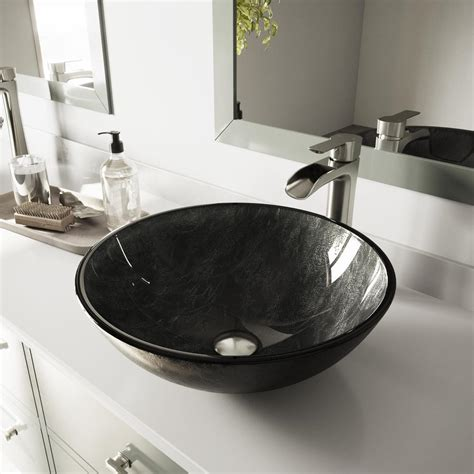 Where Are Vigo Sinks Made by Vigo Glass Vessel Bathroom Sink In Gray Onyx And Niko