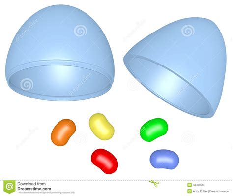 render plastic 3d render plastic easter egg with jelly beans stock