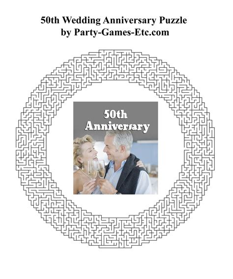 wedding anniversary activity ideas 50th wedding anniversary free printable
